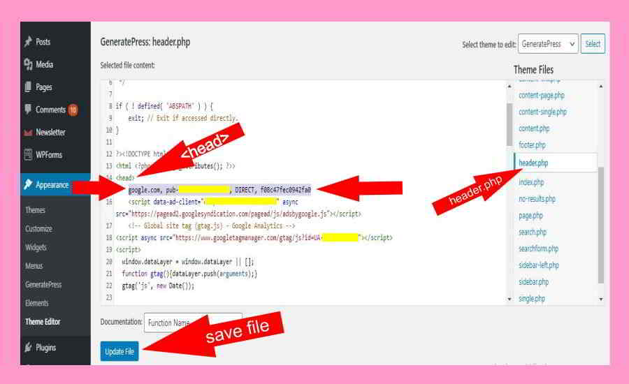 header.php ads.txt