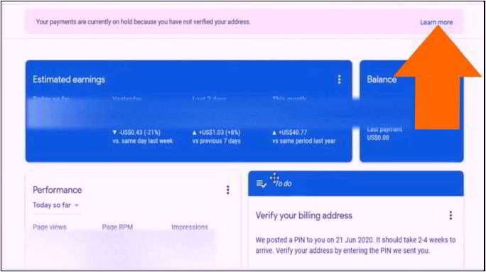 बिना पिन adsense address verification