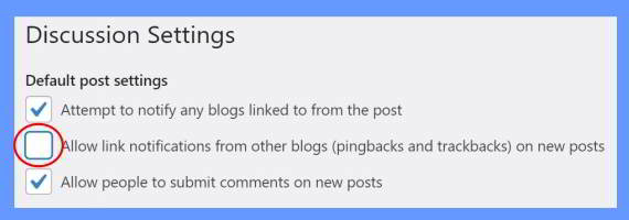 allowed link notification from other blogs on web post