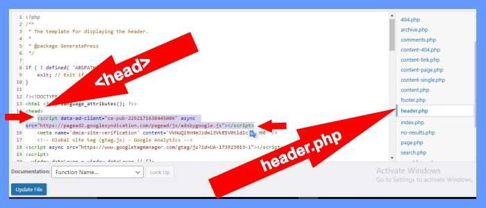 Adsense Auto ads Code WordPress में डालना